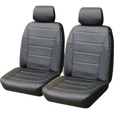 SCA Leather Look Seat Covers - Black and White Adjustable Headrests Size 30 Front Pair Airbag Compatible, , scaau_hi-res