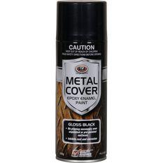 Metal Cover Aerosol Rust Paint - Enamel, Gloss Black, 300g, , scaau_hi-res