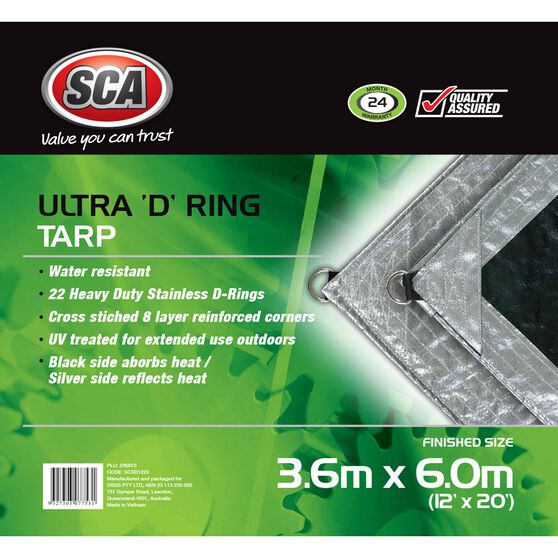 SCA Ultra D-Ring Poly Tarp - 3.6m X 6.0m (12 X 20), 205GSM, Silver, , scaau_hi-res