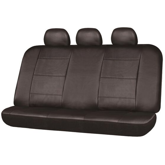 Leather Look Seat Covers - Black, Built-in Headrests, Size 06H, Rear Seat, , scaau_hi-res
