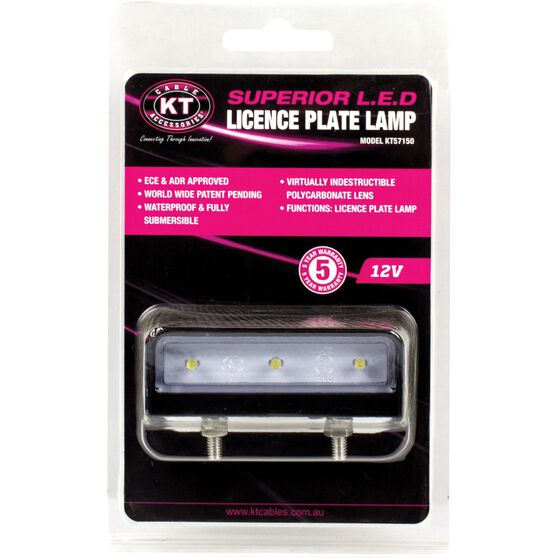 KT Cables Licence Plate Lamp - LED, White, 12V, , scaau_hi-res