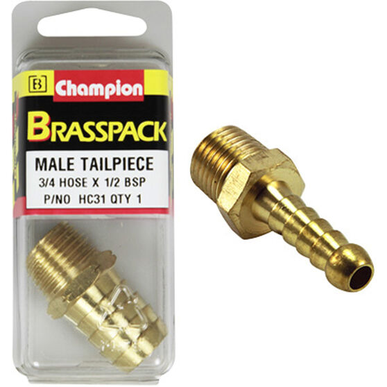 Champion Male Hose Barb - 3 / 4inch X 1 / 2inch, Brass, , scaau_hi-res