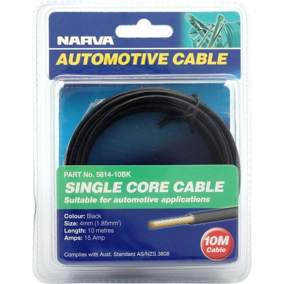 Narva Automotive Cable - Single Core, 10 Metres, 4mm, 15 AMP, Black, , scaau_hi-res