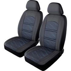 SCA Memory Foam & Jacquard Seat Covers - Black/Blue Adjustable Headrests Airbag Compatible, , scaau_hi-res