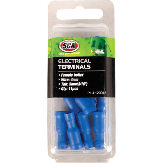 SCA Electrical Terminals - Female Bullet, Blue, 5mm, 11 Pack, , scaau_hi-res
