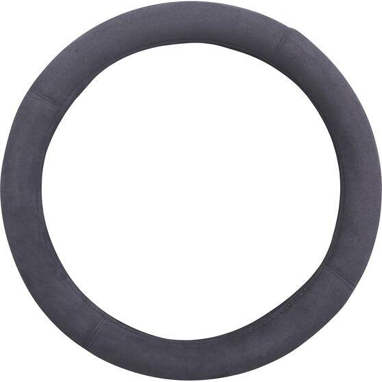 Premium Cloud Suede Steering Wheel Cover - Charcoal 380mm diameter, , scaau_hi-res