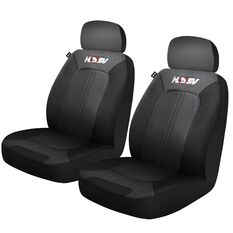 HSV Quest Leather Look Seat Covers - Black/Grey, Adjustable Headrests, Size 30, Front Pair, Airbag Compatible, , scaau_hi-res