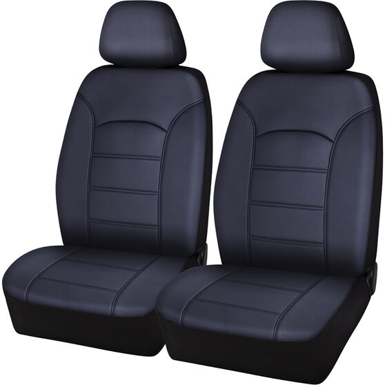 SCA Leather Look Seat Covers - Black, Adjustable Headrests, Size 30, Front Pair, Airbag Compatible, , scaau_hi-res