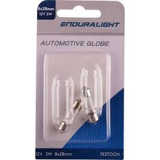 Enduralight Festoon Bulb - 12V, 3W, 8 x 28mm, ENDG1021, , scaau_hi-res