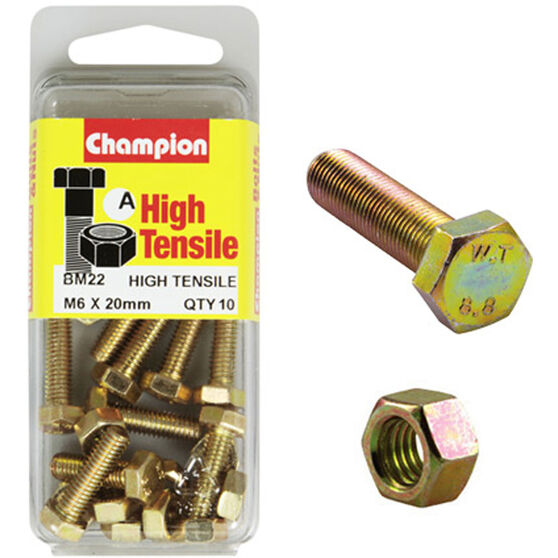 Champion High Tensile Bolts and Nuts - M6 X 60, , scaau_hi-res