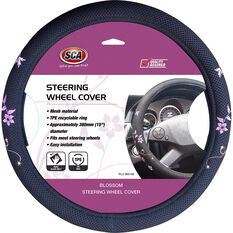 SCA Steering Wheel Cover - Blossom Mesh, Black/Orange/Purple, 380mm diameter, , scaau_hi-res