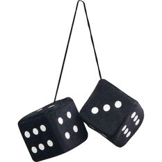 Fluffy Dice - Black with White Dots or White with Black Dots, , scaau_hi-res