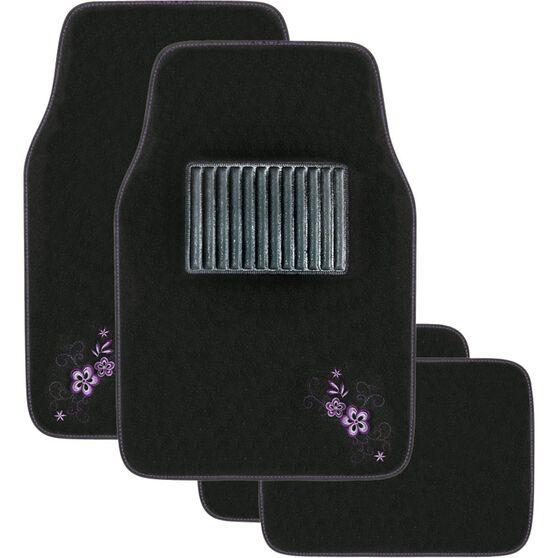 Peach Blossom Car Floor Mats - Carpet, Purple, Set of 4, , scaau_hi-res