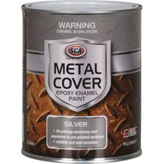 SCA Metal Cover Rust Paint - Enamel, Silver, 1 Litre, , scaau_hi-res