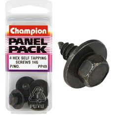 Champion Hex Self Tapping Screw - 14G, PP49, Panel Pack, , scaau_hi-res