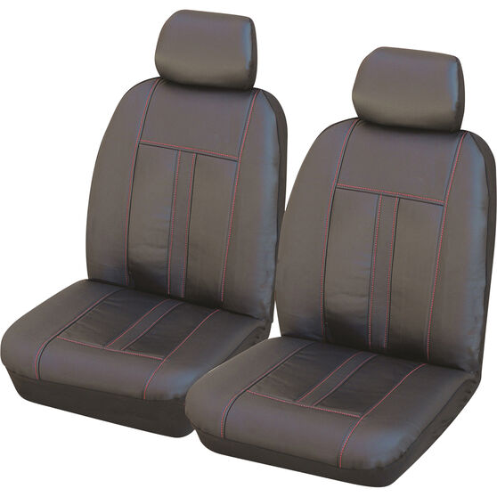 SCA Leather Look Seat Cover - Black and Red Adjustable Headrests Airbag Compatible, , scaau_hi-res