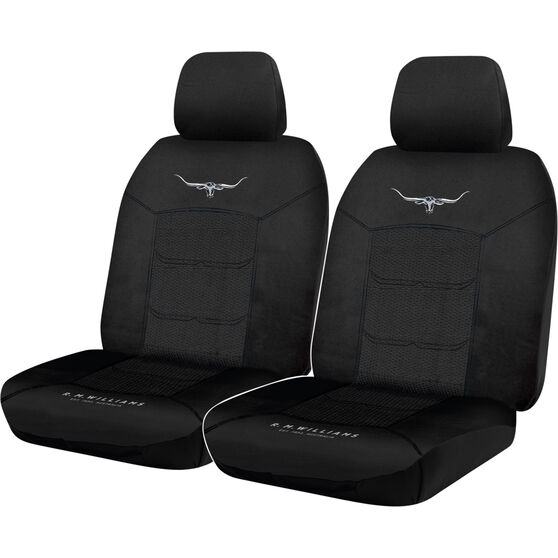 R.M.Williams Woven Seat Covers - Black, Adjustable Headrests, Size 30, Front Pair, Airbag Compatible, , scaau_hi-res