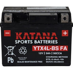 Katana Powersports Battery YTX4L-BS FA, , scaau_hi-res