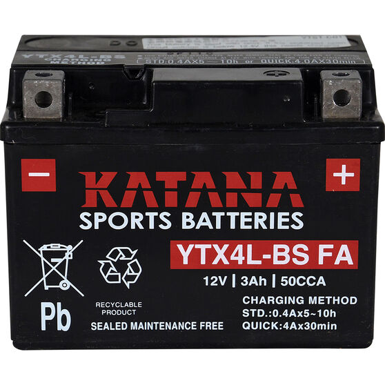 Katana Powersports Battery YTX4L-BS FA, , scaau_hi-res