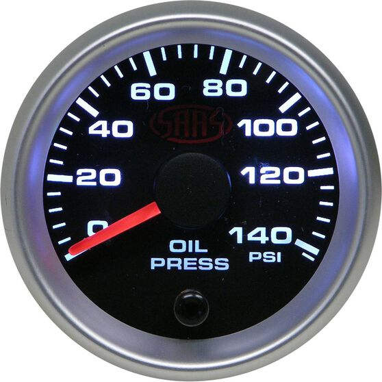 SAAS Oil Pressure Gauge Black 52mm, , scaau_hi-res