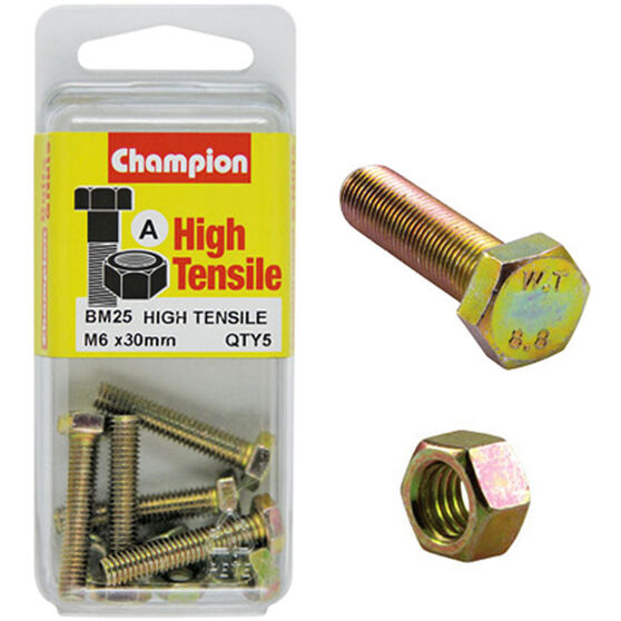 Champion High Tensile Bolts and Nuts - M6 X 30, , scaau_hi-res