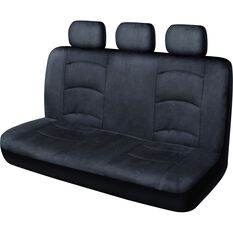 Premium Suede Seat Covers - Charcoal, Adjustable Headrests, Size 06H, Rear Seat, , scaau_hi-res