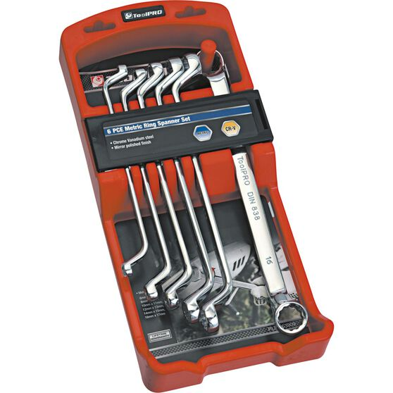 ToolPRO Spanner Set - Double Ring End, 6 Piece, Metric, , scaau_hi-res