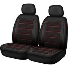 Patterned Leather Look Seat Covers - Black & Red Adjustable Headrests, Size 30, Airbag Compatible, , scaau_hi-res