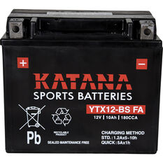 Katana Powersports Small Engine Battery YTX12-BS FA, , scaau_hi-res