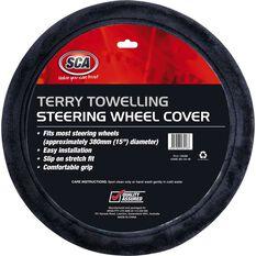 Steering Wheel Cover - Terry Towelling, Grey, 380mm diameter, , scaau_hi-res