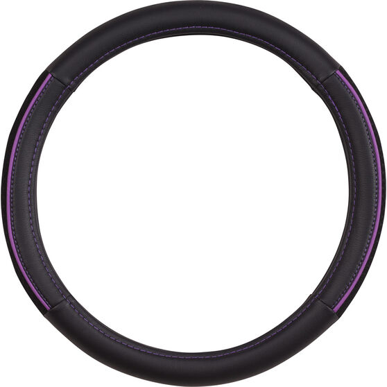 SCA Steering Wheel Cover - PU and Mesh, Black / Purple, 380mm diameter, , scaau_hi-res
