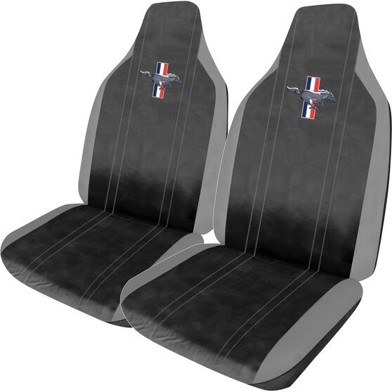Ford Mustang Leather Look Seat Covers - Black and Grey, Builtin Headrests, Size 60, Front Pair, Airbag Compatible, , scaau_hi-res