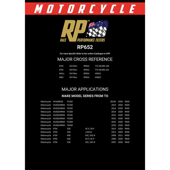 Race Performance Motorcycle Oil Filter - RP652, , scaau_hi-res