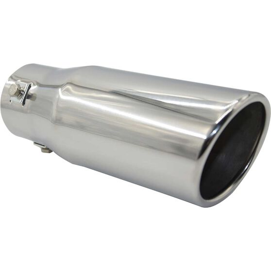 Street Series Stainless Steel Exhaust Tip - Angle Cut Rolled Tip suits 40mm to 52mm, , scaau_hi-res