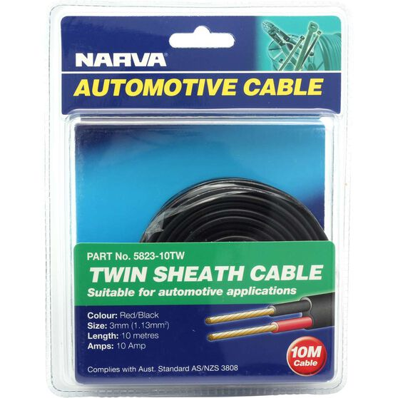 Narva Automotive Cable - Twin Sheath, 10 Metres, 3mm, 10 AMP, , scaau_hi-res