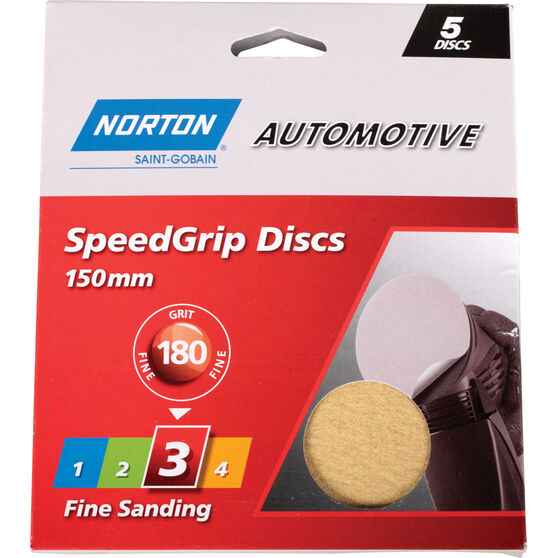 Norton Speed Grip Disc 180 Grit 150mm 5 Pack, , scaau_hi-res