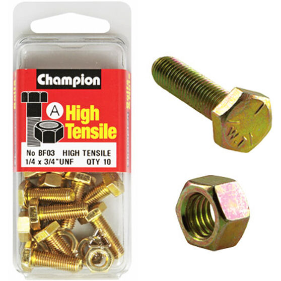 Champion High Tensile Bolts and Nuts - UNF 3 / 4inch X 1 / 4inch, , scaau_hi-res