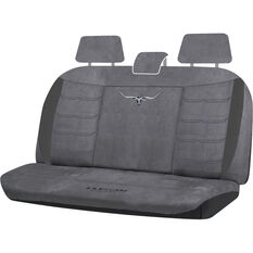 R.M.Williams Suede Velour Seat Covers - Grey, Adjustable Headrests, Size 06H, Rear Seat, , scaau_hi-res