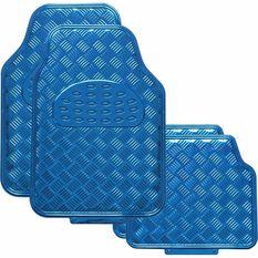 SCA Checkerplate Car Floor Mats - PVC, Blue, Set of 4, , scaau_hi-res