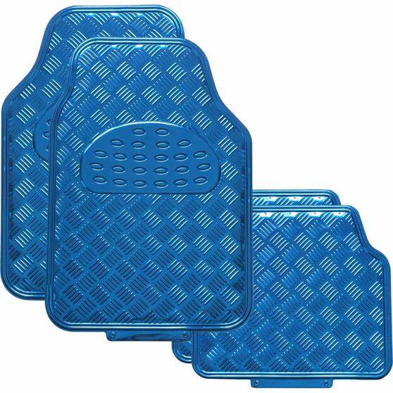 SCA Checkerplate Car Floor Mats PVC Blue Set of 4, , scaau_hi-res