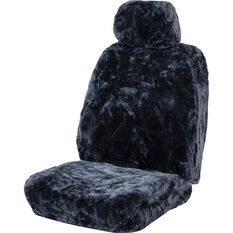 SCA Diamond Cut Sheepskin Seat Cover - Charcoal Adjustable Headrest Size 30 Single Seat Airbag Compatible, , scaau_hi-res