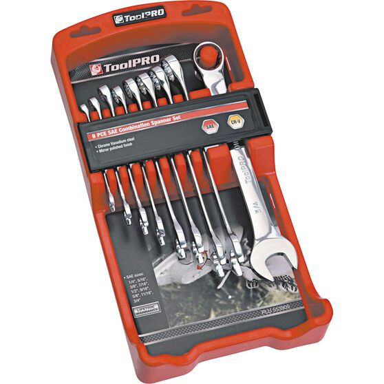ToolPRO Spanner Set - Combination, 9 Piece, Imperial, , scaau_hi-res