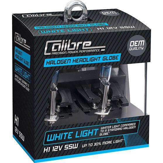Calibre Headlight Globes - H1, 12V, 55W, White Light, , scaau_hi-res