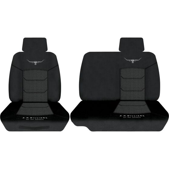 R.M.Williams Woven Ute Seat Cover - Black, Size 401, Front Bucket and Bench (with cut out), , scaau_hi-res