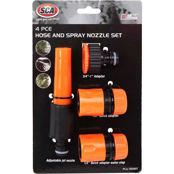SCA Garden Hose Adjustable Nozzle w / Connections - 4 Piece, , scaau_hi-res