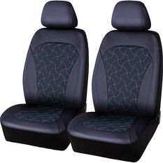 SCA Leather Look Teal Stitch Seat Covers Black/Teal Adjustable Headrests Size 30 Airbag Compatible, , scaau_hi-res
