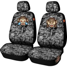 Seat Covers - Black/Grey with removable logos, Adjustable Headrests, Size 30, Front Pair, Airbag Compatible, , scaau_hi-res