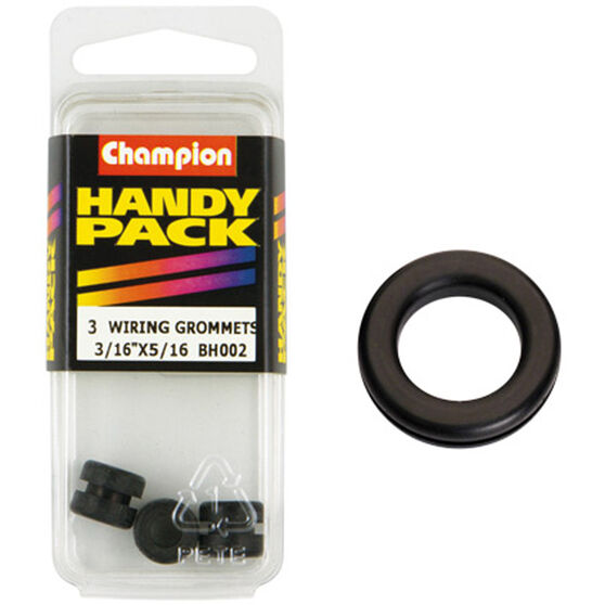 Champion Wiring Grommet - 3 / 16inch X 5 / 16inch, BH002, Handy Pack, , scaau_hi-res