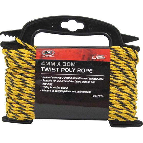SCA 3 Strand Twist Poly Rope - 4mm X 30m, , scaau_hi-res