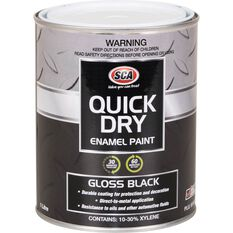 Quick Dry Enamel Black 1 Litre, , scaau_hi-res